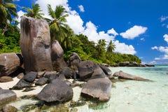 Beautiful rocky coast in Seychelles Stock Photos