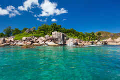Beautiful rocky coast in Seychelles Stock Images