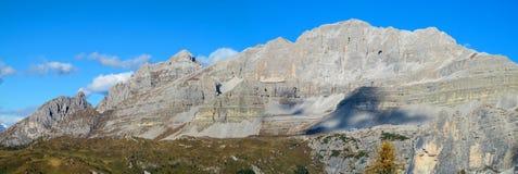 Beautiful rocky mountain in Dolomiti di Brenta, Italy. Beautiful rocky mountains in summer with blue sky. Beautiful rocky peaks, mountain and gray stones scenic royalty free stock images