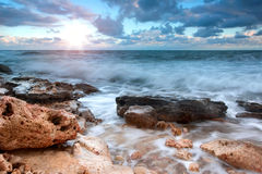 Beautiful rocky sea beach Stock Photos