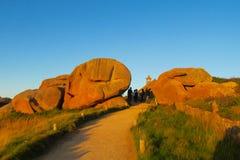 Beautiful rocky sea coast in France, touristic path stock photography