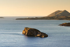 Beautiful rocky sea. View from Sounio in Greece. Royalty Free Stock Image