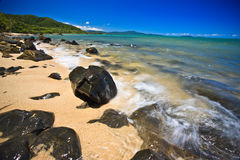 Beautiful rocky seashore. In a landscape shot Royalty Free Stock Photo