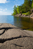 Beautiful rocky shore of the famous island of Valaam Stock Photography
