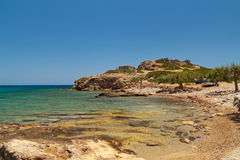 Beautiful rocky Vai beach on Crete Royalty Free Stock Photo