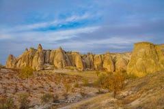 Beautiful rocky valley in Cappadocia, Turkey Stock Photos