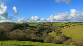 The Beautiful Rolling Green Fields of Cornwall stock video footage