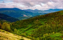 Beautiful rolling hills of Carpathian mountains. Lovely summer landscape, bird eye view Stock Photography