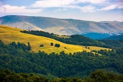 Beautiful rolling hills of Carpathian mountains. Lovely summer landscape, bird eye view Stock Photo