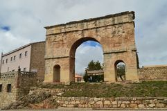 Beautiful Roman Arch Of The First Century Perfectly Preserved In The Village Of Medinaceli. March 19, 2016. Architecture, History, Travel. Medinaceli, Soria Royalty Free Stock Image