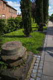 Beautiful Roman Garden in Chester the county city of Cheshire in England stock photos