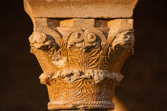 Beautiful romanesque capital closeup view Royalty Free Stock Photo