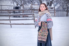 Beautiful romanian girl in traditional costume Royalty Free Stock Photos