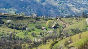 A beautiful view of the Romanian countryside on a warm day of spring royalty free stock image