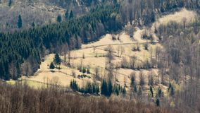A beautiful view of the Romanian countryside on a warm day of spring stock images