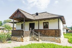 Romanian traditional house. Beautiful romanian traditional house in the open-air Golesti Museum of Viticulture and Tree stock photos