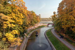 Beautiful romantic alley in a park with colorful trees, autumn landscape Stock Photography