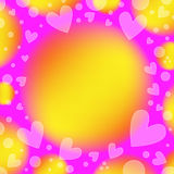 Beautiful romantic background with hearts. Beautiful pink, yellow and orange romantic background with white hearts and circles Royalty Free Stock Photography