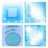 Blue background collection withe heart and stars vector illustration
