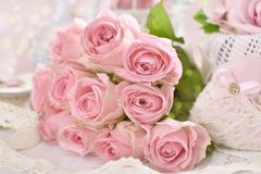 Romantic pink roses bouquet in shabby chic style Stock Photos