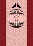 Beautiful romantic card with birds on a bird cage Stock Photo