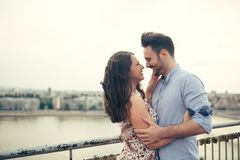 Beautiful romantic couple dating outdoors royalty free stock image