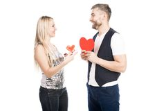 Couple give Valentines royalty free stock photo