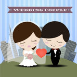 Beautiful romantic couple in love having fun with city Background Wedding Invitation Card. Vector/Illustration Stock Images