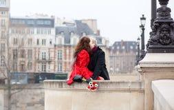 Beautiful romantic couple in Paris Stock Images
