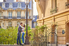 Beautiful romantic couple in Paris Stock Photography