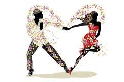 Beautiful romantic couple in passionate Latin American dances. Salsa festival. royalty free illustration