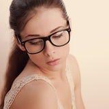 Beautiful romantic female model in fashion glasses. Closeup vintage Royalty Free Stock Photos