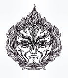 Beautiful romantic Fire Spirit symbol. Beautiful romantic Fire Spirit symbol surrounded with fire flames. Fire Element of nature 4 elements collection. Tattoo Stock Photography