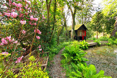 Beautiful romantic garden in Springtime Stock Photo