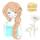 Beautiful romantic girl with braided hair. Stock Photography