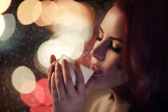 Beautiful Romantic Girl With Cup of Coffee Stock Image
