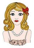 Beautiful romantic girl.llustration princess gir.girl poster.  Royalty Free Stock Photo
