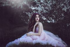 Beautiful Romantic Girl with long hair in fairy long pink dress sitting near flowering tree. Fantasy art. Creative colors and Artistic processing Royalty Free Stock Image