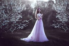 Beautiful Romantic Girl with long hair in pink dress near flowering tree. royalty free stock photography