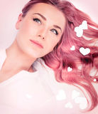 Beautiful romantic girl with pink hair style Royalty Free Stock Images