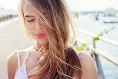 Beautiful Romantic Girl Relax on an Air. Outdoors Stock Photo