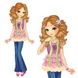 Beautiful Romantic Girl. Vector illustration of beautiful romantic girl Royalty Free Stock Image