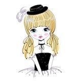 Beautiful romantic girl vector Illustration. Stock Photos
