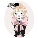 Beautiful romantic girl vector Illustration. Stock Images