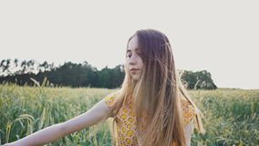 A beautiful romantic girl walking alone through a field of green wheat and touching wheat ears. She corrects long hair stock video footage