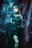 Beautiful, romantic gothic styled woman royalty free stock photo