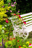 Beautiful, romantic, home garden with variety of blooming flowers, summertime Royalty Free Stock Photo