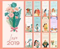 Beautiful romantic monthly calendar 2019 with couples in love. Can be used for banner, poster, card, postcard and print. stock illustration