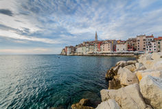 Beautiful romantic old town of Rovinj with magical sunset,Istrian Peninsula,Croatia,Europe Royalty Free Stock Image