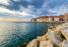 Beautiful romantic old town of Rovinj with magical sunset,Istrian Peninsula,Croatia,Europe Royalty Free Stock Photo
